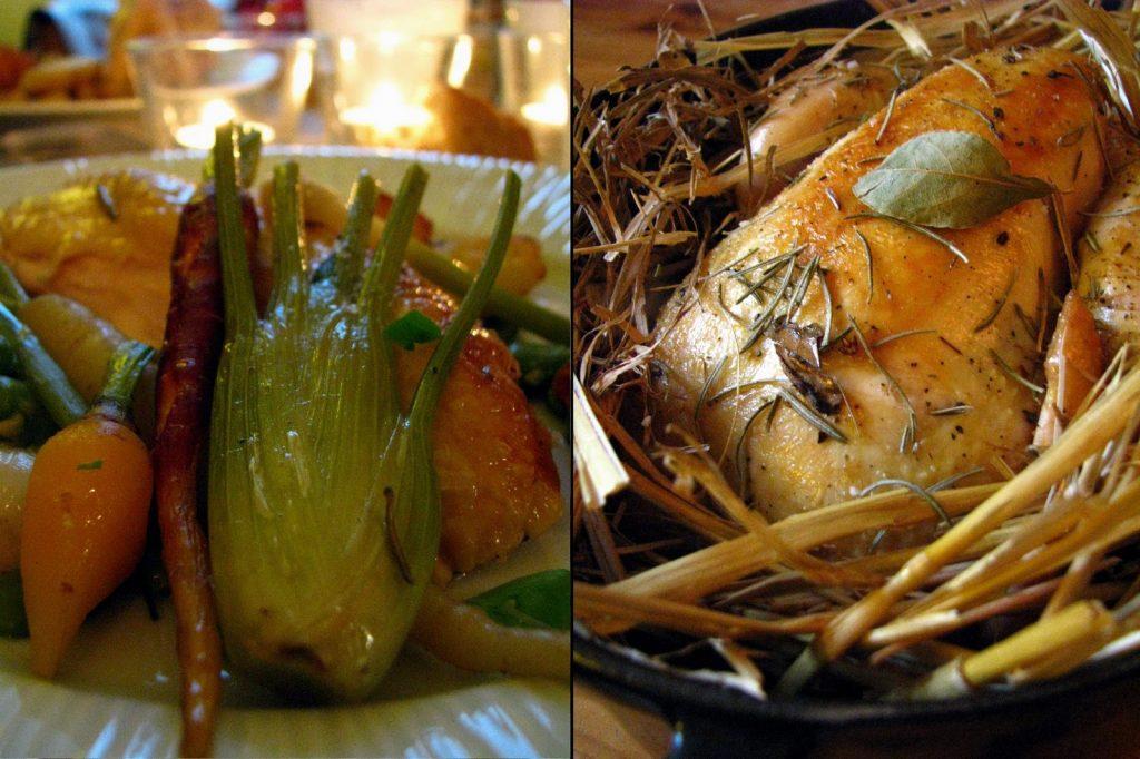 Poulet à la paille et petits légumes