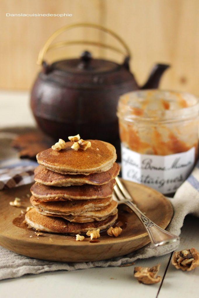 Pancakes sans gluten et sans lactose à la farine de châtaigne