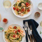 Pâtes longues aux crevettes et salicorne