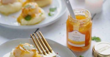 Coquilles saint-Jacques poêlées, sauce à la confiture orange-yuzu Francis Miot
