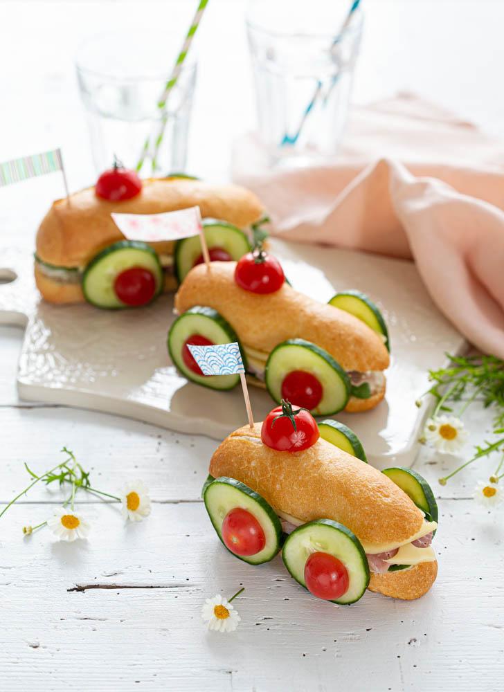 Voiture sandwich Food art à réaliser avec les enfants pour un pique-nique ou apéritif dînatoire