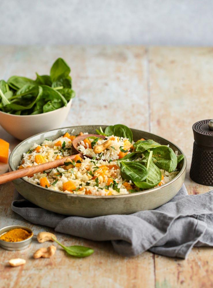 Riz sauté au potimarron et noix de cajou batch cooking : des repas sains et préparés rapidement