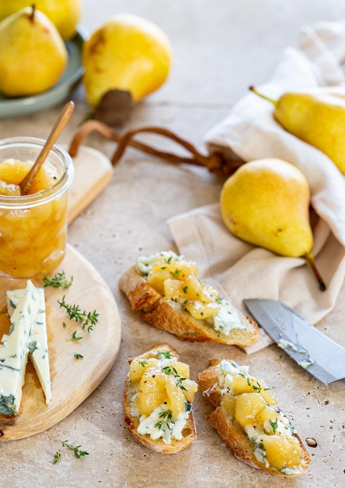 Chutney de poires Williams au miel pour accompagner du fromage à pâte persillée